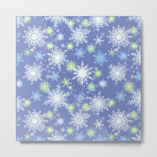 white , delicate snowflakes on a light blue background. Metal Print