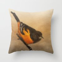 baltimore Throw Pillows featuring Baltimore Oriole by Photography and Fine Art by Pamela
