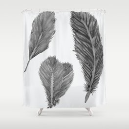 Feather Collection - black and white Shower Curtain