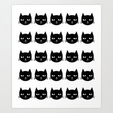 Cat Head - Black and White, Minimal, Monochrome, Animal, Kitty Simple Design Art Print