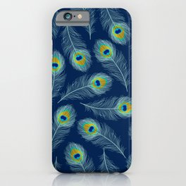 Luxe textured peacock feather on marine blue iPhone Case
