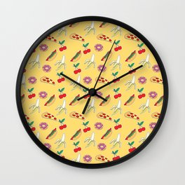 Modern yellow red fruit pizza sweet donuts food pattern Wall Clock