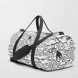 Doodle clouds and swallows. Cloudscape pattern with birds. Duffle Bag