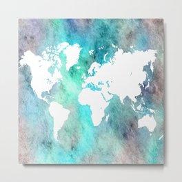Design 62 World Map Turquoise Aqua Metal Print