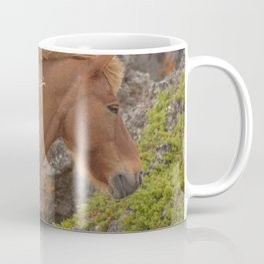 Watercolor Horse 09, Icelandic Pony, Outside Lake Mývatn, Iceland, Windy Prospects Coffee Mug