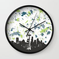 seahawks Wall Clocks featuring Seahawks Seattle Skyline by Blythe Green