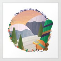 snowboard Art Prints featuring Moutains Are Calling - Snowboard by Megs Higgins