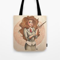 hermione Tote Bags featuring Hermione by Dee J.