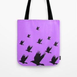 FLYING FLOCK BLACK CROWS/RAVENS ON LILAC COLOR Tote Bag