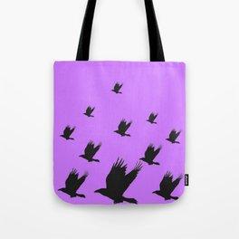 FLYING FLOCK BLACK CROWS/RAVENS ON LILAC COLOR Tote Bag