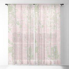 Madrid map vintage Sheer Curtain