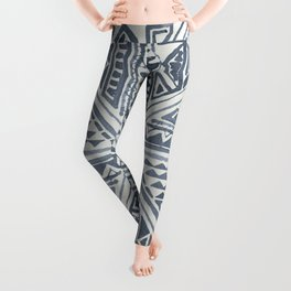Simply Tribal Tile in Indigo Blue on Lunar Gray Leggings