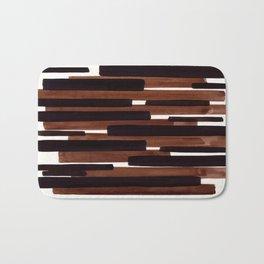 Dark Brown Primitive Stripes Mid Century Modern Minimalist Watercolor Gouache Painting Colorful Stri Bath Mat