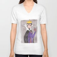 evil queen V-neck T-shirts featuring The Evil Queen by carotoki art and love