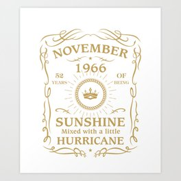 November 1966 Sunshine mixed Hurricane Art Print