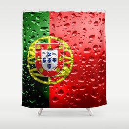 Flag of Portugal - Raindrops Shower Curtain