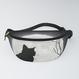Silent Night Cat and full moon Fanny Pack