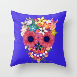 Skull Flowers blue Throw Pillow
