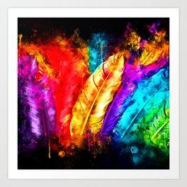 colorful bird feathers watercolor splatters Art Print