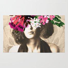 Floral Woman Vintage White Rose Gold Rug