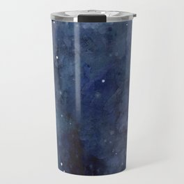 Galaxy Nebula Watercolor Night Sky Stars Outer Space Blue Texture Travel Mug