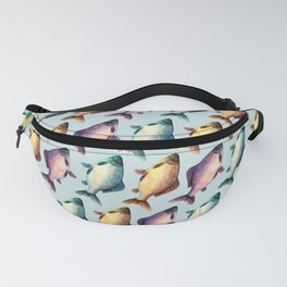 Colorful fishes pattern with bluish background Fanny Pack