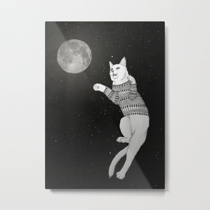 Cat trying to catch the Moon Metal Print