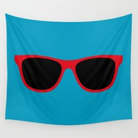 sunglasses Wall Tapestries featuring Red Sunglasses by Color and Patterns