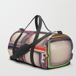 Wall of pile colorful retro television (TV) Duffle Bag