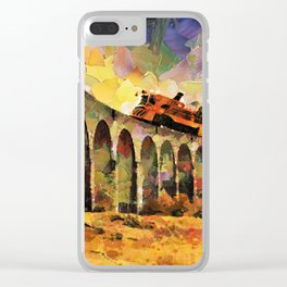 Train crossing the stone bridge Clear iPhone Case