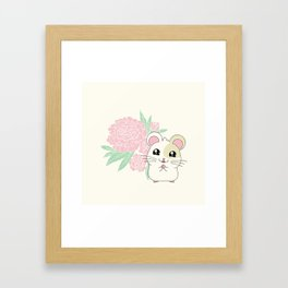 Hamster and Peony Framed Art Print