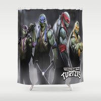ninja turtles Shower Curtains featuring ninja turtles  , ninja turtles  games, ninja turtles  blanket, ninja turtles  duvet cover by ira gora