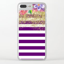 Bold Purple Stripes Gold Dust Floral Clear iPhone Case