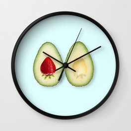 Avocado strawberries Wall Clock