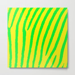 Zebra Print (Yellow & Green) Metal Print