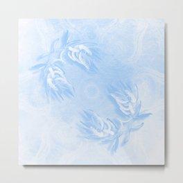 Delicate wattle bouquet in blue Metal Print