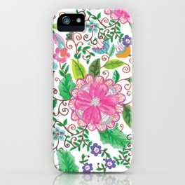 Hand made watercolor pink agate green floral iPhone Case