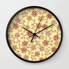 Candy Apple Blossom Yellow Wall Clock