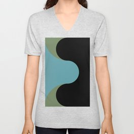 A strong Blue circular wave entering a green and black seaside. Unisex V-Neck