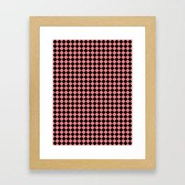 Black and Coral Pink Diamonds Framed Art Print