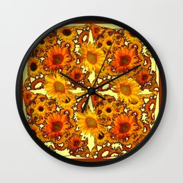 Lacy Golden-Brown Yellow Sunflowers Pattern Design Wall Clock