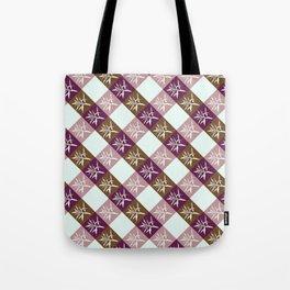Vichy pattern leaf pink Tote Bag