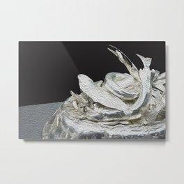 Silver black abstract art Metal Print