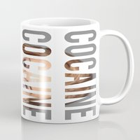 cocaine Mugs featuring LINDSAY LOHAN - COCAINE by Beauty Killer Art