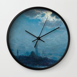 View of Istanbul in the moonlight; the Blue Mosque maritime nautical painting Vartan Makhokhian Wall Clock