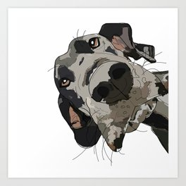 Great Dane dog in your face Art Print