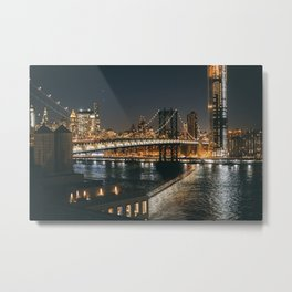 Manhattan Bridge Glow Metal Print