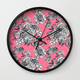 Peonies and anthurium on coral background. Wall Clock