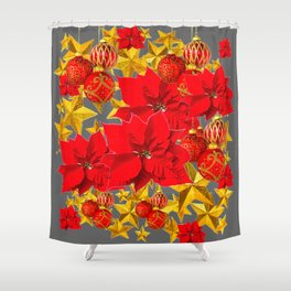 RED-GOLD ORNAMENTS POINSETTIAS  GREY ART Shower Curtain