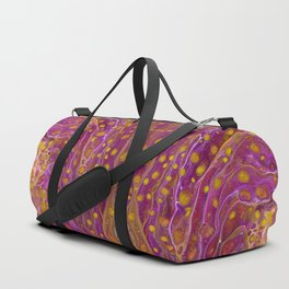 Hot Pink with Yellow Glow Dots Geode Party by annmariescreations Duffle Bag